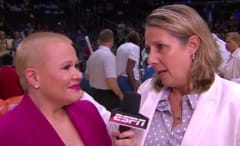 Holly Rowe interviews Lynx head coach Cheryl Reeve.
