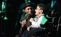 Singer Aloe Blacc and singer/rapper Sparsh Shah perform together