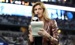 Erin Andrews covers a playoff game for Fox.