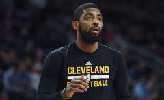 Kyrie Irving warms up before game.