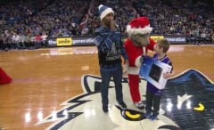 Minnesota Timberwolves Mascot gives young Sacramento Kings fan a PS4