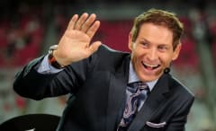 Steve Young on the Monday Night Football set.