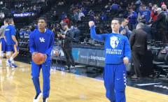 Kentucky Wildcats freshman Brad Calipari shooting in warmups before a game