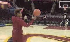 LeBron James's son Bronny tries half-court shot after Cavaliers game.