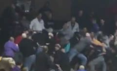 A brawl breaks out in the stands of a Ohio high school basketball game.