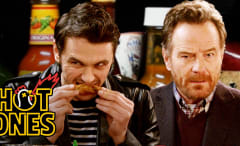 James Franco and Bryan Cranston on Hot Ones
