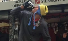 Rob Gronkowski downs a beer.