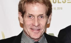 Skip Bayless appears on a red carpet.