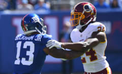 Odell Beckham Jr. and Josh Norman get tangled up.