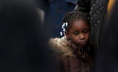 Sad black girl at rally