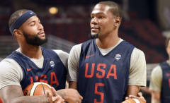 DeMarcus Cousins and Kevin Durant during a Team USA practice.