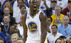 Draymond Green reacts to a call during a game.