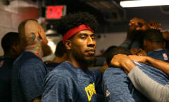 Iman Shumpert in the Cavaliers' huddle.