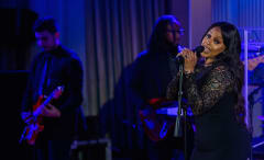 Chrisette Michele performs during a state dinner