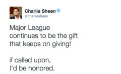 Charlie Sheen world series twitter