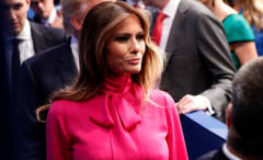 Melania Trump wears Gucci pussy-bow blouse to second presidential debate.