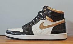Air Jordan 1 White Python Black Croc Gold Leather by JBF Customs Side