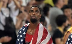 Tyson Gay looks at the scoreboard at the 2016 Olympics.