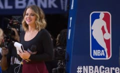 NBA On TNT reporter Kristen Ledlow at basketball game