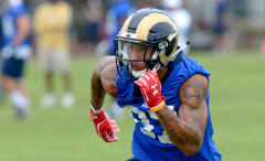Deon Long runs a route during a Los Angeles Rams practice.