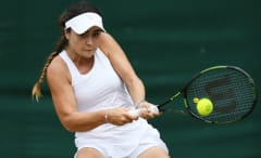 Gabriella Taylor takes part in the junior girls' tournament at Wimbledon 2016.