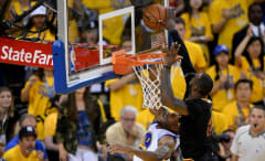 LeBron James blocks Andre Iguodala during Game 7 of the 2016 NBA Finals.