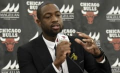 Dwyane Wade speaks during his Bulls introductory press conference.