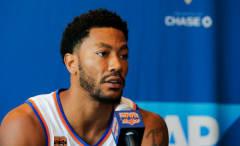 Derrick Rose at Knicks media day.