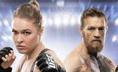 Conor McGregor and Ronda Rousey on the cover of EA Sports UFC 2.