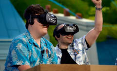 Oculus Rift founder Palmer Luckey shows off his product.