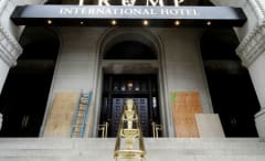 New Trump hotel in Washington D.C. tagged with Black Lives Matter graffiti.