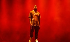 Kanye West performing.