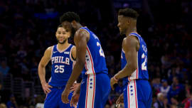 ac8ead0cb7a Ben Simmons #25, Joel Embiid #21 and Jimmy Butler #23 of the
