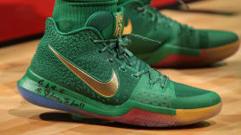 low priced c7e27 9c2c3 Nike Kyrie 3 Rainbow PE On-Foot. Sole Collector