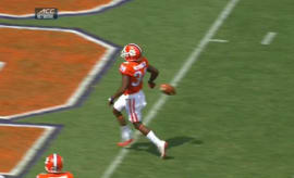 Clemson player drops football just before the goal line
