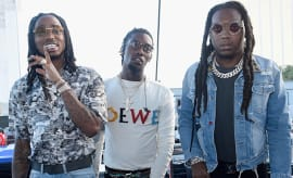 Quavo, Offset and Takeoff of Migos pose backstage during the Daytime Village.
