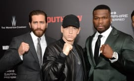 Eminem appears at the 'Southpaw' premiere.