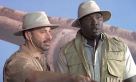 Jimmy KImmel and Williams Hayes go to a dinosaur museum.