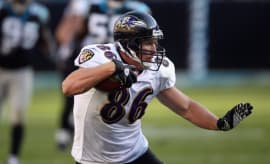 Todd Heap #86 of the Baltimore Ravens against the Carolina Panthers