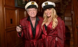 Hugh Hefner with his wife Crystal.