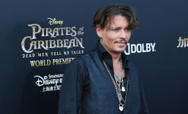 Johnny Depp attends the premiere of film 'Pirates of the Caribbean: Dead Men Tell No Tales'