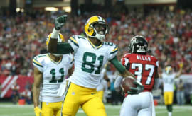 Geronimo Allison reacts to scoring first NFL touchdown.