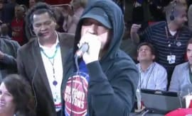 Eminem at a Pistons game.