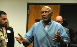 O.J. Simpson arrives for his parole hearing.