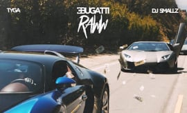 Album cover for Tyga's 'Bugatti Raww' mixtape.