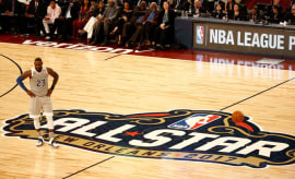 LeBron James stands at center court during the 2017 NBA All-Star Game.