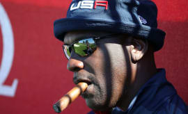 Michael Jordan at the first hole of the 41st Ryder Cup.