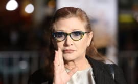 Carrie Fisher attends movie premiere.
