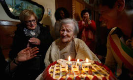 Emma Morano is seen at her 117th birthday