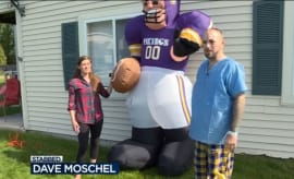 A Wisconsin-based Minnesota Vikings fan talks to a news crew after being stabbed over an inflatable.